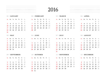 months: Calendar 2016. Vector Print Template. 12 Months. Week Starts Sunday Illustration