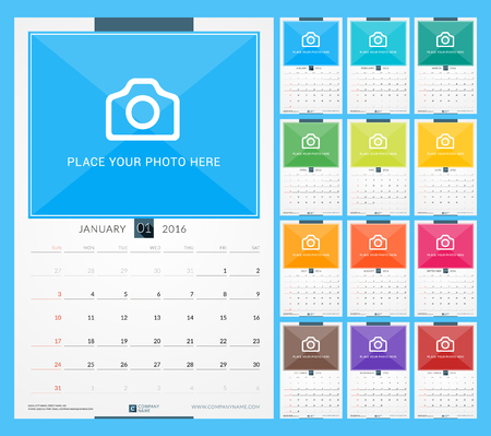 Wall Monthly Calendar for 2016 Year. Vector Design Print Template with Place for Photo. Week Starts Sunday. Portrait Orientation. Set of 12 Months Illusztráció