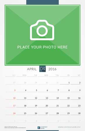 portrait orientation: April 2016. Wall Monthly Calendar for 2016 Year. Vector Design Print Template with Place for Photo. Week Starts Sunday. Portrait Orientation