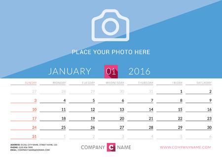 january calendar: Desk Calendar 2016. Vector Print Template. January. Week Starts Sunday
