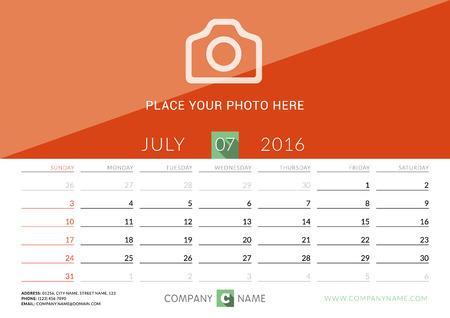 desk calendar: Desk Calendar 2016. Vector Print Template. July. Week Starts Sunday