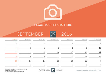 desk calendar: Desk Calendar 2016. Vector Print Template. September. Week Starts Sunday Illustration