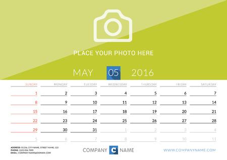 desk calendar: Desk Calendar 2016. Vector Print Template. May. Week Starts Sunday