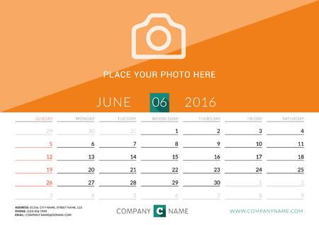 desk calendar: Desk Calendar 2016. Vector Print Template. June. Week Starts Sunday