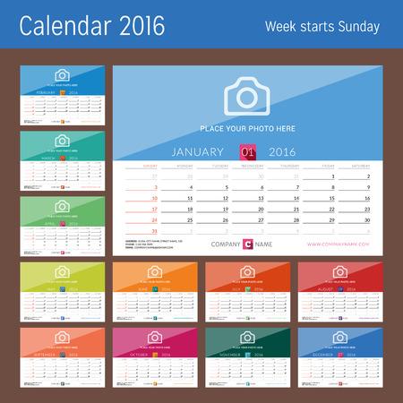 kalendarz: Biuro Kalendarz 2016 Wektor Drukuj Szablon. Zestaw 12 miesięcy. Tydzień zaczyna się w niedzielę