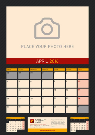 portrait orientation: Wall Calendar Planner for 2016 Year. Vector Design Print Template with Place for Photo on Dark Background. Week Starts Monday. Portrait Orientation. April