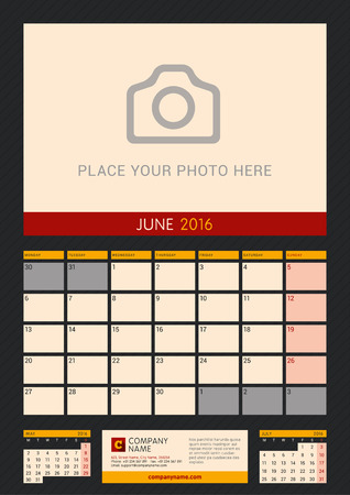 portrait orientation: Wall Calendar Planner for 2016 Year. Vector Design Print Template with Place for Photo on Dark Background. Week Starts Monday. Portrait Orientation. June Illustration