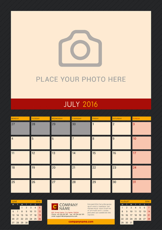 portrait orientation: Wall Calendar Planner for 2016 Year. Vector Design Print Template with Place for Photo on Dark Background. Week Starts Monday. Portrait Orientation. July Illustration