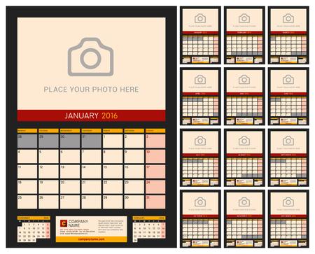 kalendarz: Kalendarz ścienny na 2016 rok Planner. Szablon wektora z miejsca dla druku Zdjęcie na ciemnym tle. Tydzień zaczyna się w poniedziałek. Portret Orientacja. Zestaw 12 miesięcy Ilustracja