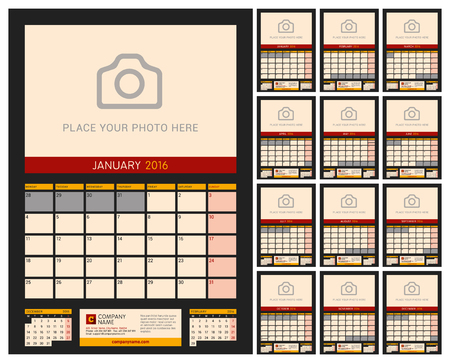 desk calendar: Wall Calendar Planner for 2016 Year. Vector Design Print Template with Place for Photo on Dark Background. Week Starts Monday. Portrait Orientation. Set of 12 Months