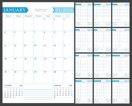 portrait orientation: Monthly Calendar Planner for 2016 Year. Vector Design Print Template with Place for Notes. Week Starts Monday. Portrait Orientation. Set of 12 Months Illustration