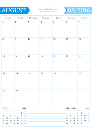portrait orientation: August 2016. Monthly Calendar Planner for 2016 Year. Vector Design Print Template with Place for Notes. Week Starts Monday. Portrait Orientation