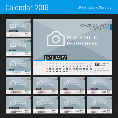 business desk: Desk Calendar 2016. Vector Print Template with Place for Photo. Set of 12 Months. Week Starts Sunday