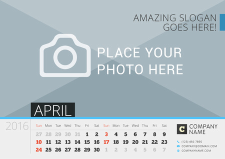 Desk Calendar 2016. Vector Print Template with Place for Photo. April. Week Starts Sunday