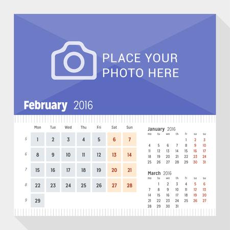 calendario: Febrero 2016. calendario de escritorio para el 2016 A�o. La semana comienza el lunes. 3 Meses de p�gina. Dise�o vectorial plantilla de impresi�n con lugar para las fotos