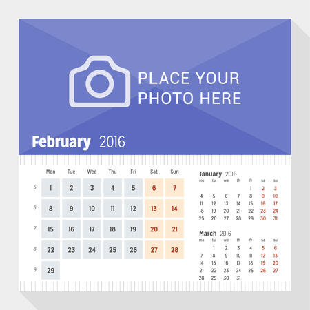 desk calendar: February 2016. Desk Calendar for 2016 Year. Week Starts Monday. 3 Months on Page. Vector Design Print Template with Place for Photo