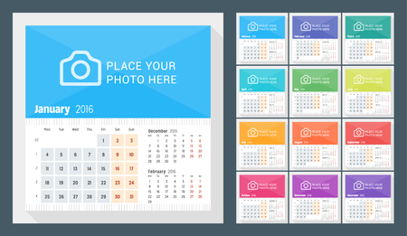 Desk Calendar for 2016 Year. Week Starts Monday. 3 Months on Page. Set of 12 Months. Vector Design Print Template with Place for Photo  イラスト・ベクター素材