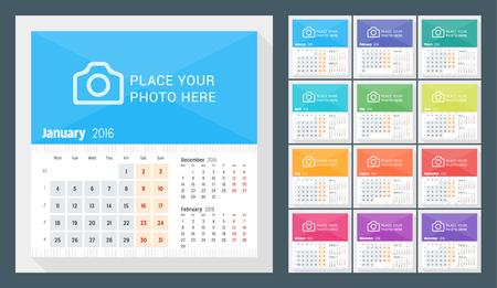 Bureaukalender 2016 Jaar. Week begint maandag. 3 Maanden op pagina. Set van 12 maanden. Vector Design Template Print met plaats voor Photo Stock Illustratie