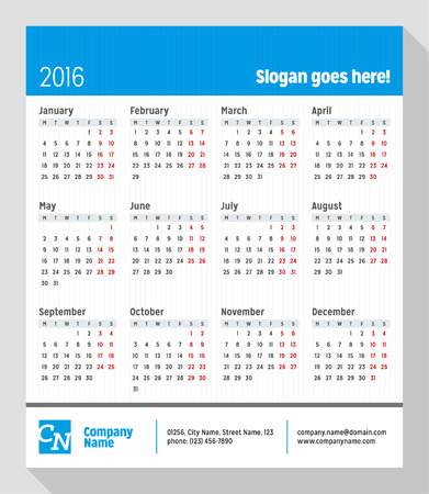 contact info: Calendar for 2016 Year. Week Starts Monday. Vector Design Print Template with Place for Slogan, Logotype and Contact Info