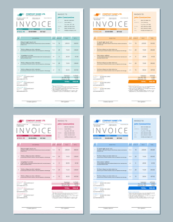 Set of Vector Invoice Design Templates. Gren, Orange, Red and Blue Colors Reklamní fotografie - 44777325
