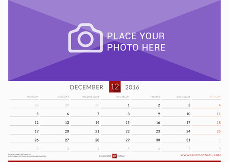 Wall Monthly Calendar for 2016 Year. Vector Design Print Template. Week Starts Monday. Landscape Orientation. December