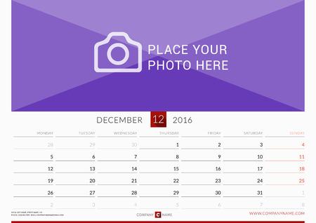 december: Wall Monthly Calendar for 2016 Year. Vector Design Print Template. Week Starts Monday. Landscape Orientation. December