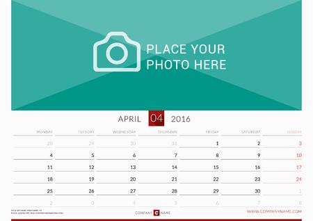 壁カレンダー 2016 年。ベクター デザインの印刷テンプレートです。月曜始まり。横向き。4 月