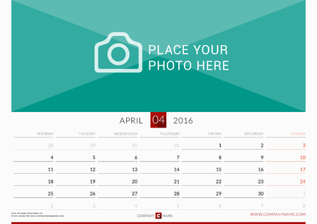 Muur Maandelijkse kalender voor 2016 jaar. Vector Ontwerp Print Template. Week begint maandag. Liggend. april-