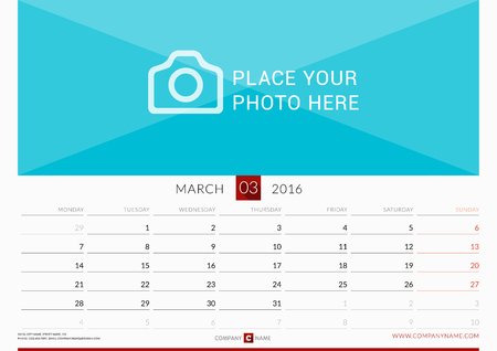 orientation: Wall Monthly Calendar for 2016 Year. Vector Design Print Template. Week Starts Monday. Landscape Orientation. March Illustration