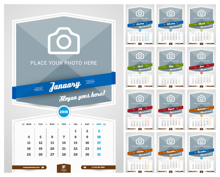 calendario: Pared Calendario mensual para el A�o 2016. Dise�o vectorial plantilla de impresi�n con lugar para Fotogr�fico y de fondo del modelo. Conjunto de 12 Meses. La semana comienza Lunes