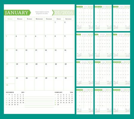 papel de notas: Mensual Planificador Calendario para 2016 A�o. Dise�o vectorial plantilla de impresi�n con lugar para Notes. La semana comienza el domingo. Orientaci�n Vertical. Conjunto de 12 Meses