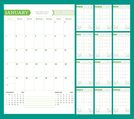 event planning: Monthly Calendar Planner for 2016 Year. Vector Design Print Template with Place for Notes. Week Starts Sunday. Portrait Orientation. Set of 12 Months