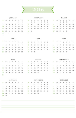portrait orientation: Calendar for 2016 Year. Vector Design Print Template. Week Starts Sunday. Portrait Orientation