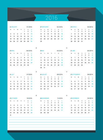 next day: Calendar for 2016 Year. Vector Design Print Template. Week Starts Monday