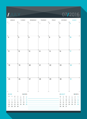 next day: July 2016. Vector Design Print Template. Monthly Calendar Planner for 2016 Year. Week Starts Monday