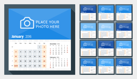 desk calendar: Desk Calendar for 2016 Year. Week Starts Sunday. 3 Months on Page. Set of 12 Months. Vector Design Print Template with Place for Photo Illustration