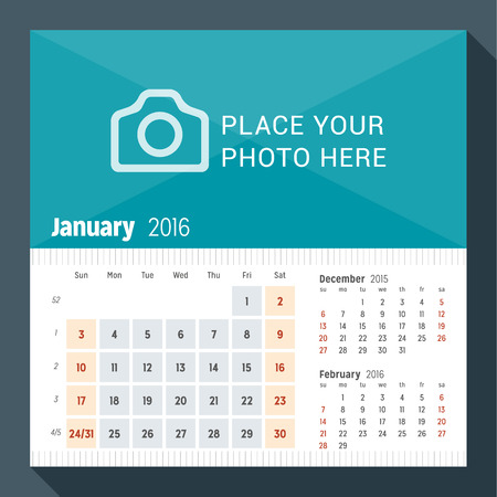 desk calendar: January 2016. Desk Calendar for 2016 Year. Week Starts Sunday. 3 Months on Page. Vector Design Print Template with Place for Photo Illustration