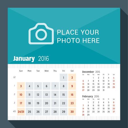 kalendarz: Stycznia 2016 roku biuro Kalendarz na 2016 rok. Tydzień zaczyna się w niedzielę. 3 miesiące na stronie. Wektor Szablon wydruku z miejsca dla fotografii Ilustracja