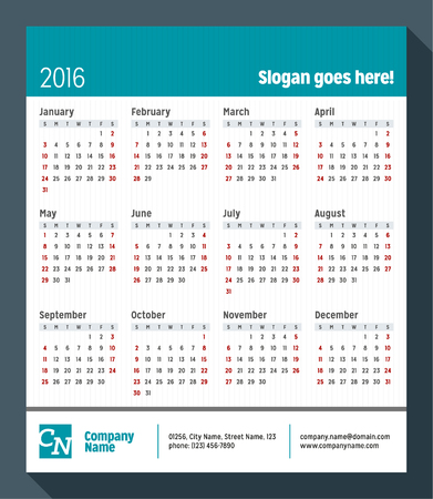 desk calendar: Calendar for 2016 Year. Week Starts Sunday. Vector Design Print Template with Place for Slogan, Logotype and Contact Info