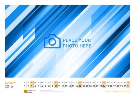 january: Wall Monthly Line Calendar for 2016 Year. Vector Design Print Template. Landscape Orientation. January 2016 Illustration