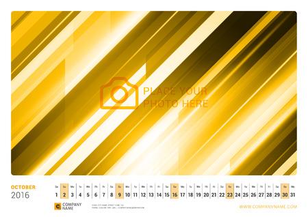 2016 년 월간 월간 달력. 벡터 디자인 인쇄 템플릿. 가로 방향. 2016 년 10 월 일러스트