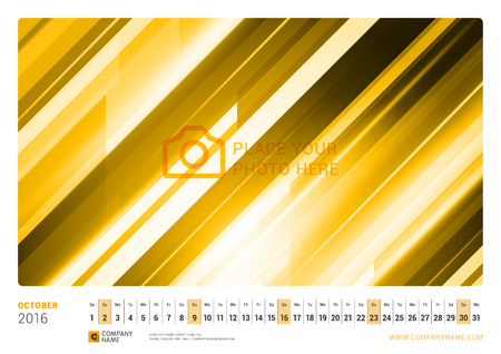 Wall Monthly Line Calendar for 2016 Year. Vector Design Print Template. Landscape Orientation. October 2016