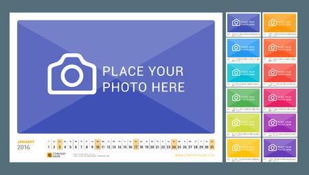 Muur maandelijkse kalender voor 2016 jaar. Vector Ontwerp Print Template. Liggend. Set van 12 maanden Stock Illustratie