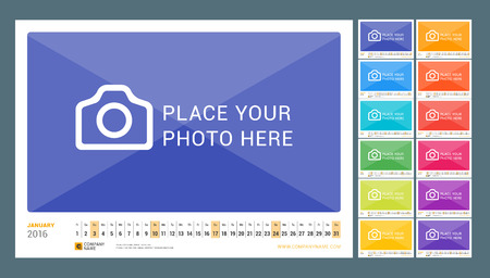 Wall Monthly Line Calendar for 2016 Year. Vector Design Print Template. Landscape Orientation. Set of 12 Months