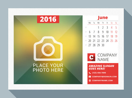 calendar: June 2016. Desk Calendar for 2016 Year. Vector Design Print Template with Place for Photo, Logo and Contact Information. Week Starts Monday. Calendar Grid with Week Numbers