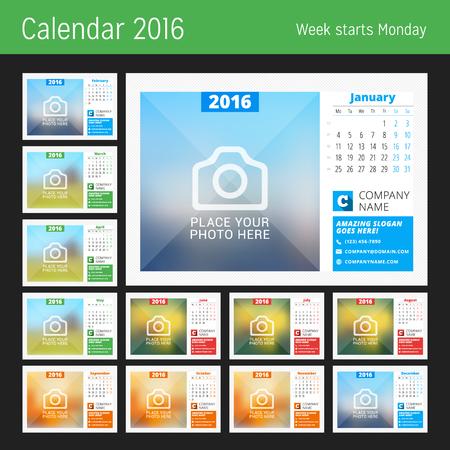 calendario: Calendario de escritorio para el 2016 A�o. Dise�o vectorial plantilla de impresi�n con lugar para foto, logotipo e informaci�n de contacto. La semana comienza el lunes. Calendario de cuadr�cula con n�meros de semana. Conjunto de 12 Meses