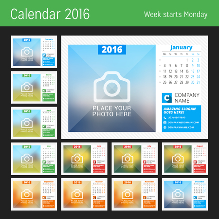 calendrier: Calendrier de bureau pour 2016 Année. Vector Design modèle d'impression avec la Place de photo, logo et coordonnées. La semaine commence le lundi. Calendrier grille avec les numéros de semaine. Ensemble de 12 Mois