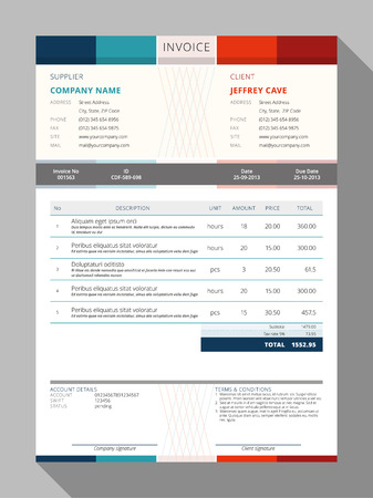 INVOICE: Vector Customizable Invoice Form Template Design. Vector Illustration