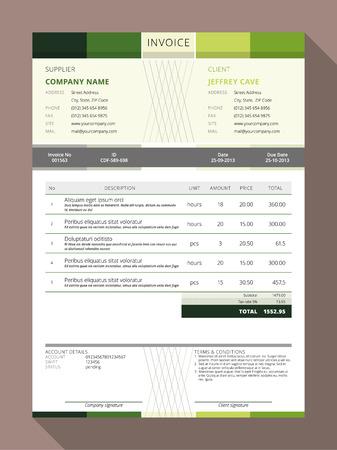 Vector Customizable Invoice Form Template Design. Vector Illustration Stok Fotoğraf - 45667591