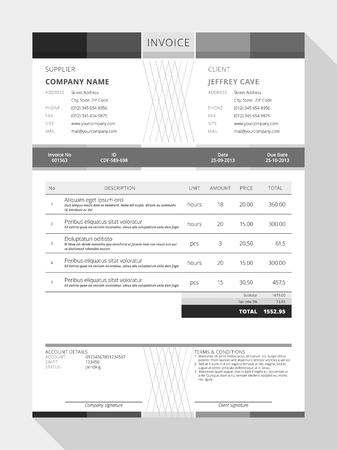 payable: Vector Customizable Invoice Form Template Design. Vector Illustration